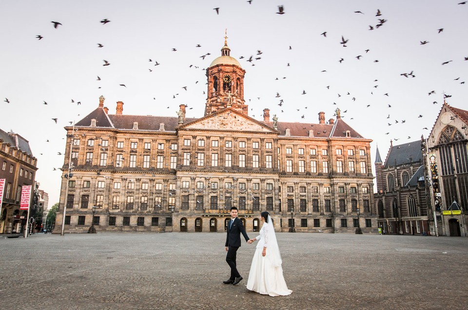 Prewedding shoot sunrise Amsterdam