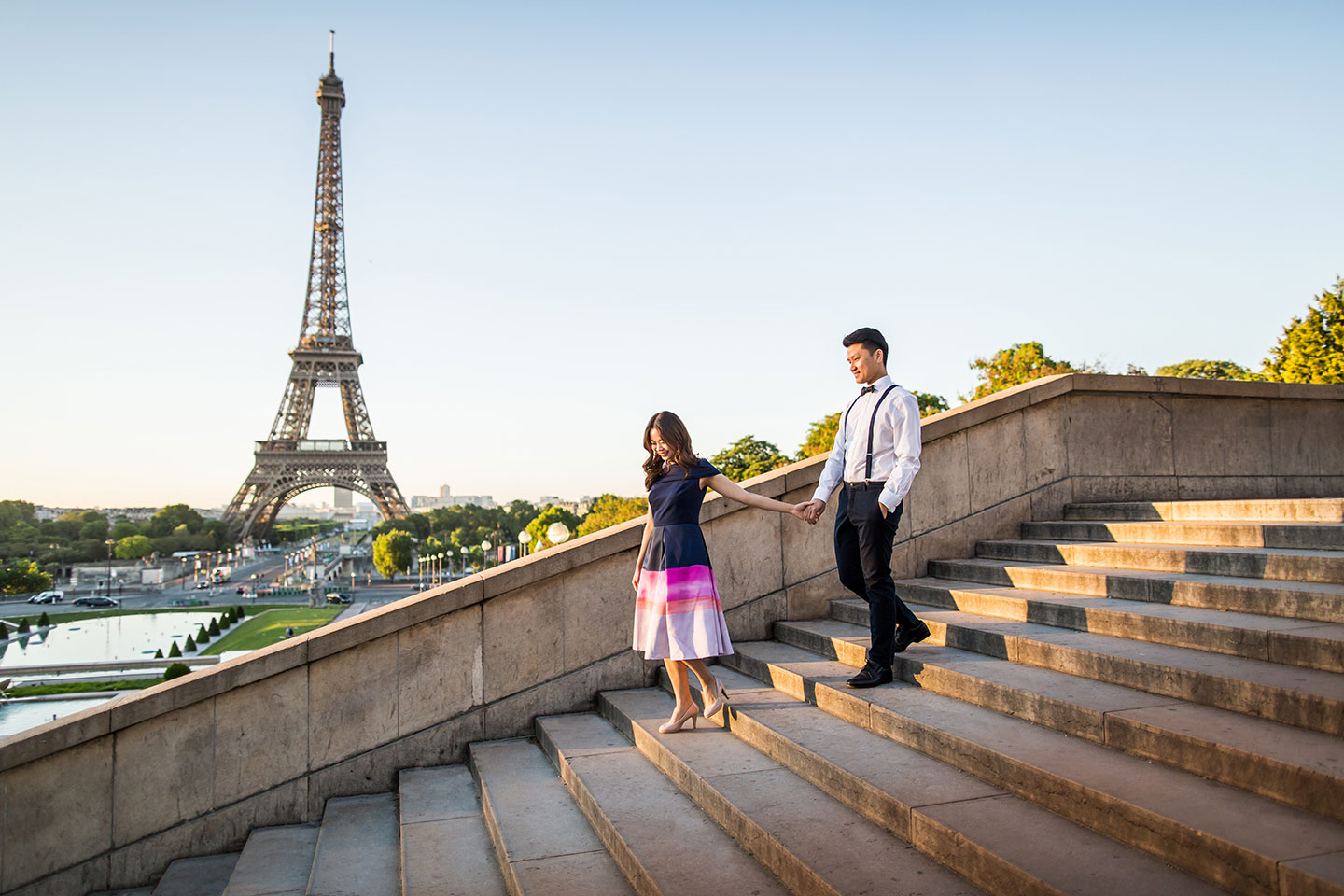 engagement shoot Paris France with the Eiffel tower in the background