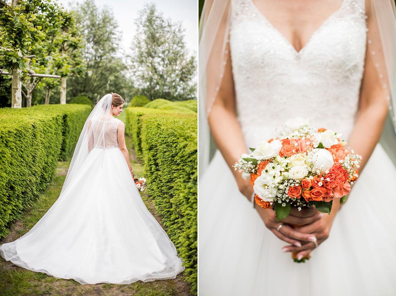 Bruid tijdens bruiloft bij Domaine d'Heerstaayen