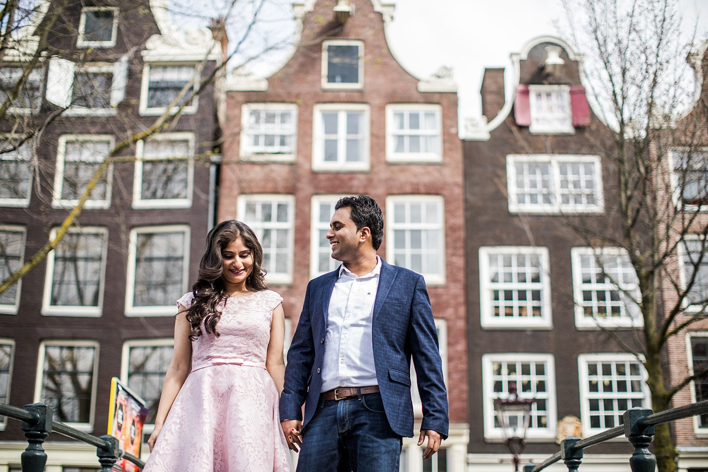 European prewedding shoot for an Indian couple in Amsterdam, Holland