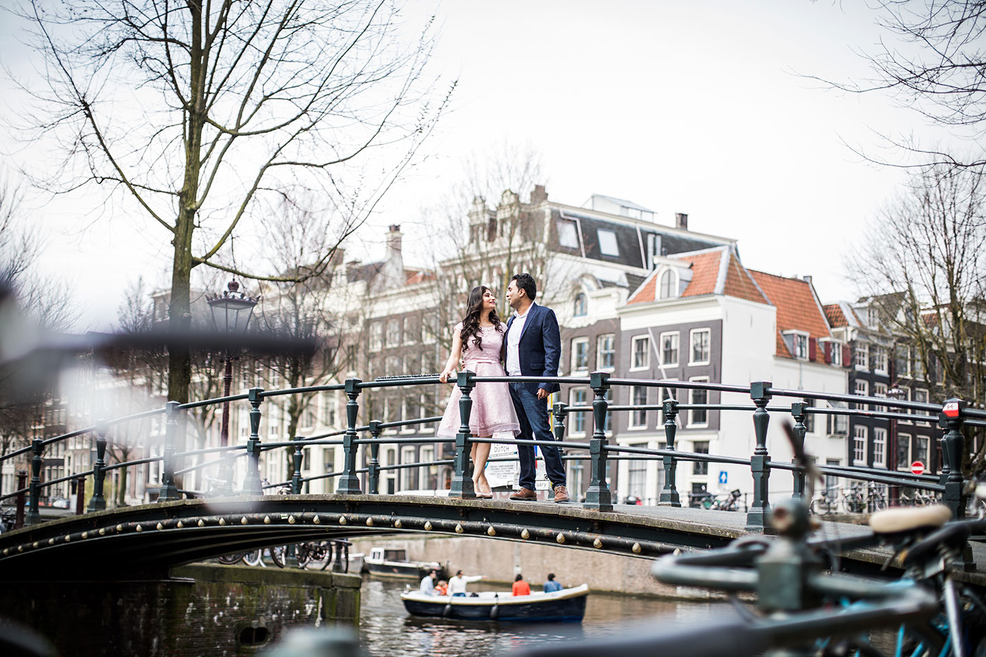 Prewedding photoshoot in the streets of Amsterdam, Holland