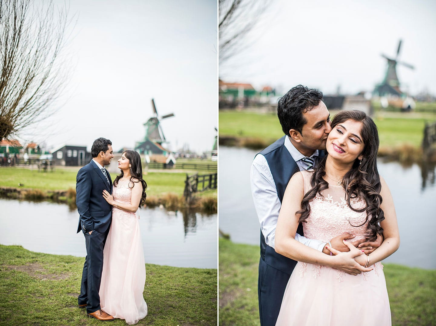 Prewedding Indian couple Holland windmills