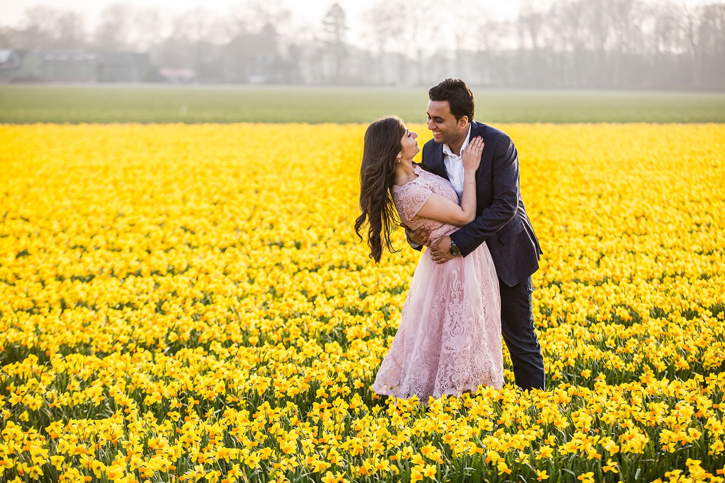 Indian Prewedding Photoshoot Tulip Fields