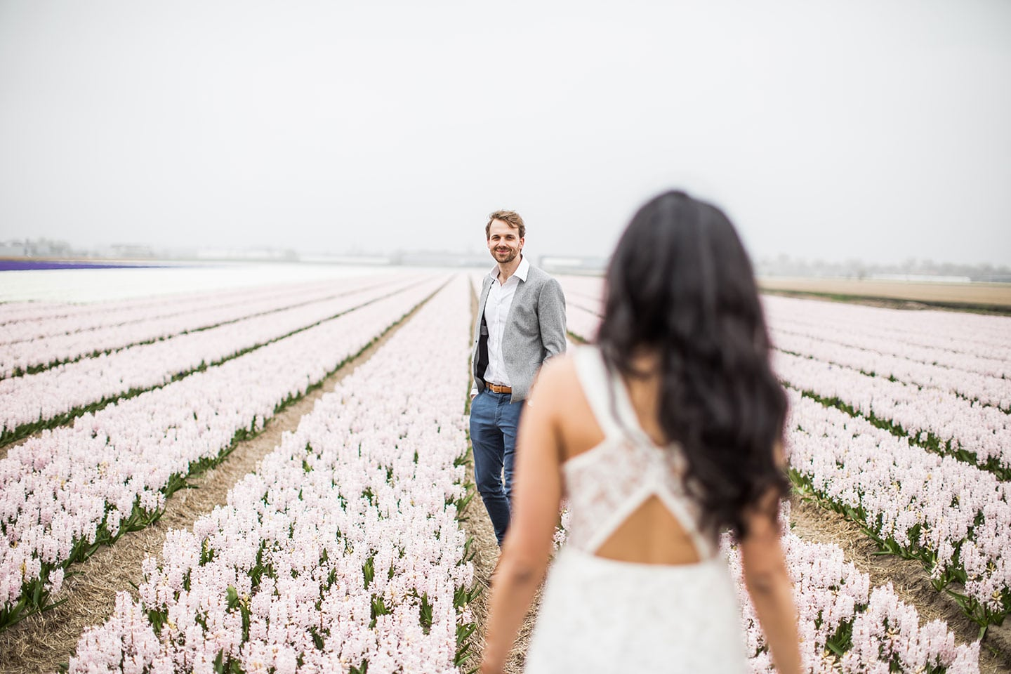 Keukenhof flower gardens Netherlands engagement photoshoot