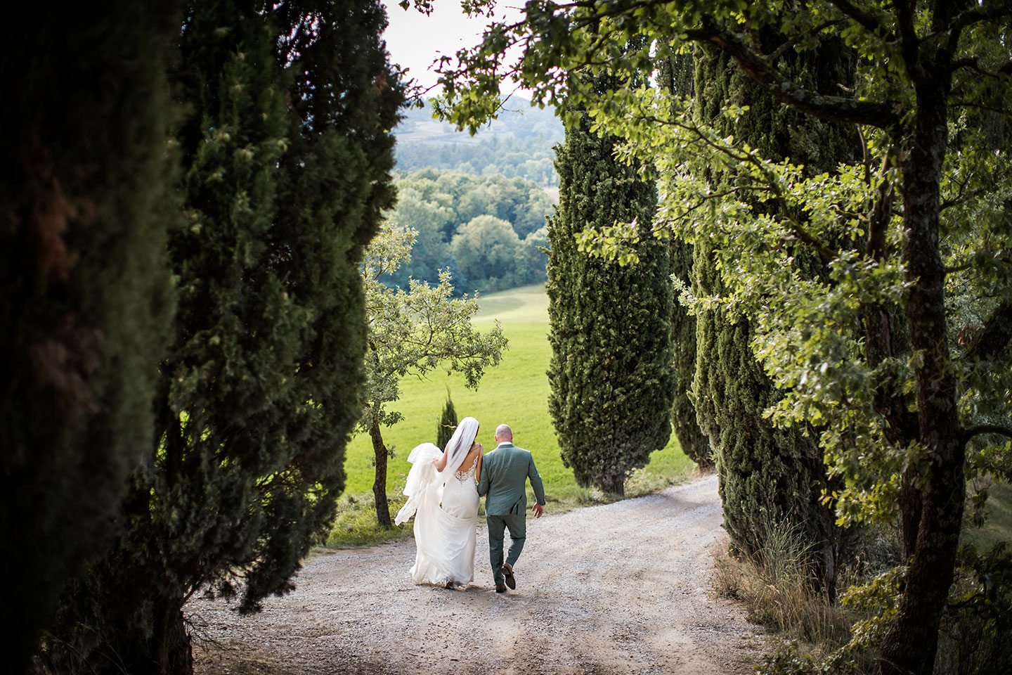 Tuscany wedding photographer cypress trees