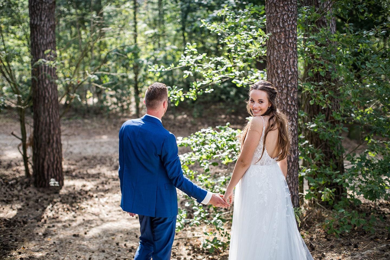 Fotoshoot bruiloft bij de Soesterduinen